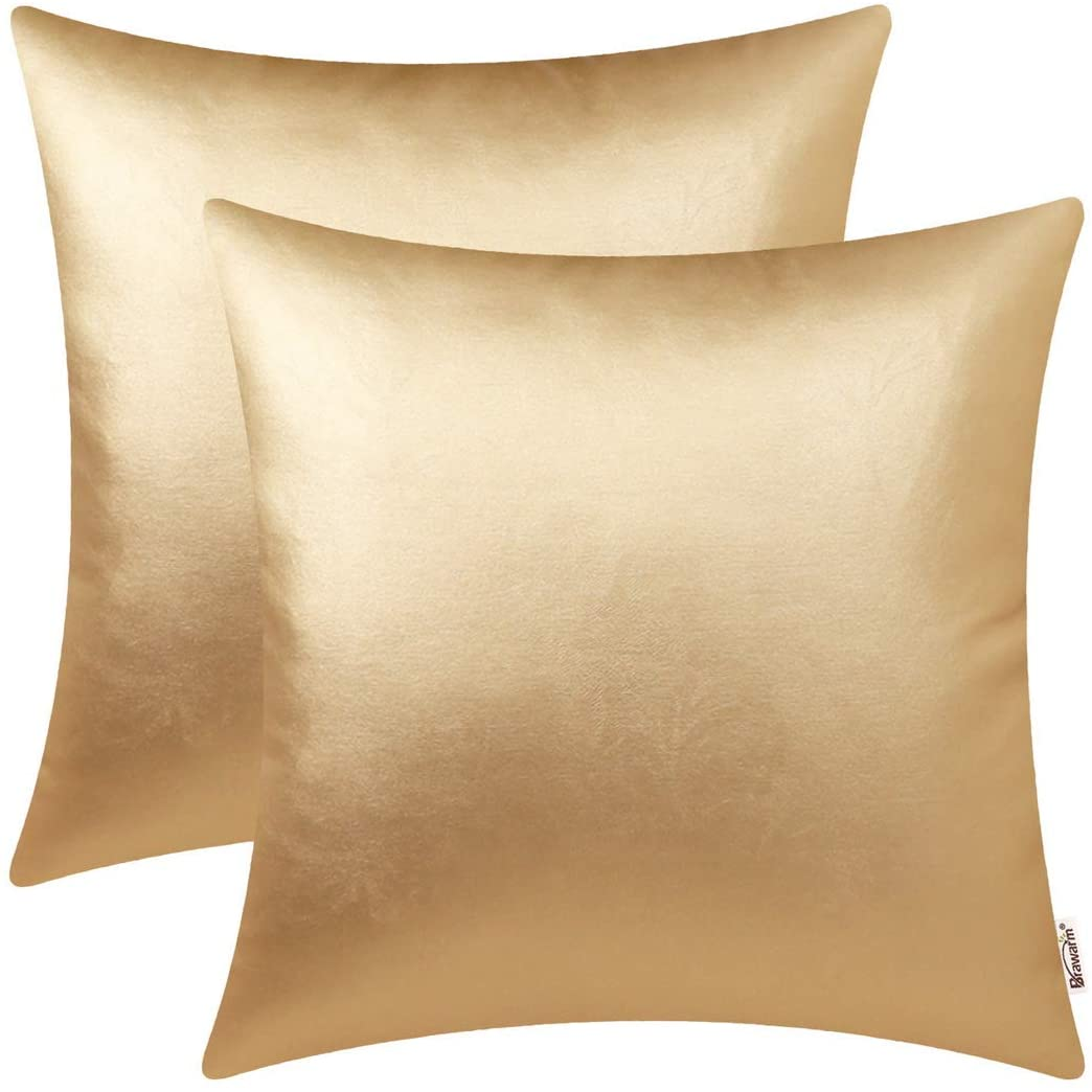 BRAWARM Pack of 2 Cozy Throw Pillow Covers Cases for Couch Sofa Home Decoration Solid Dyed Soft Faux Leather Both Sides 16 X 16 Inches Gold