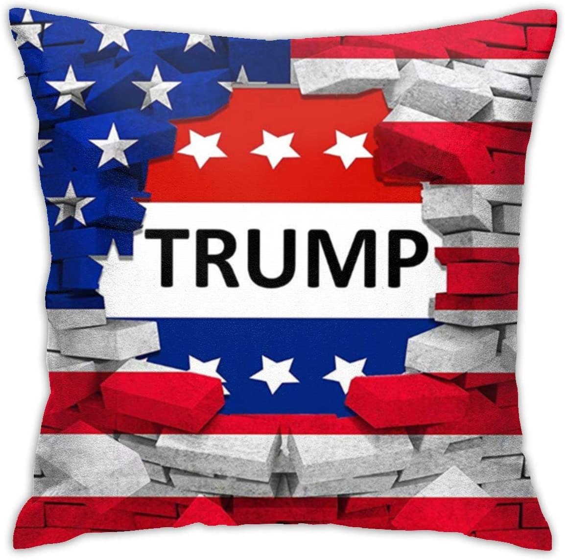 ULQUIEOR American USA Trump Flag Throw Pillow Covers Square Decorative Pillow Case Cushion Case for Sofa Couch Bed Car Gift 18x18 Inch