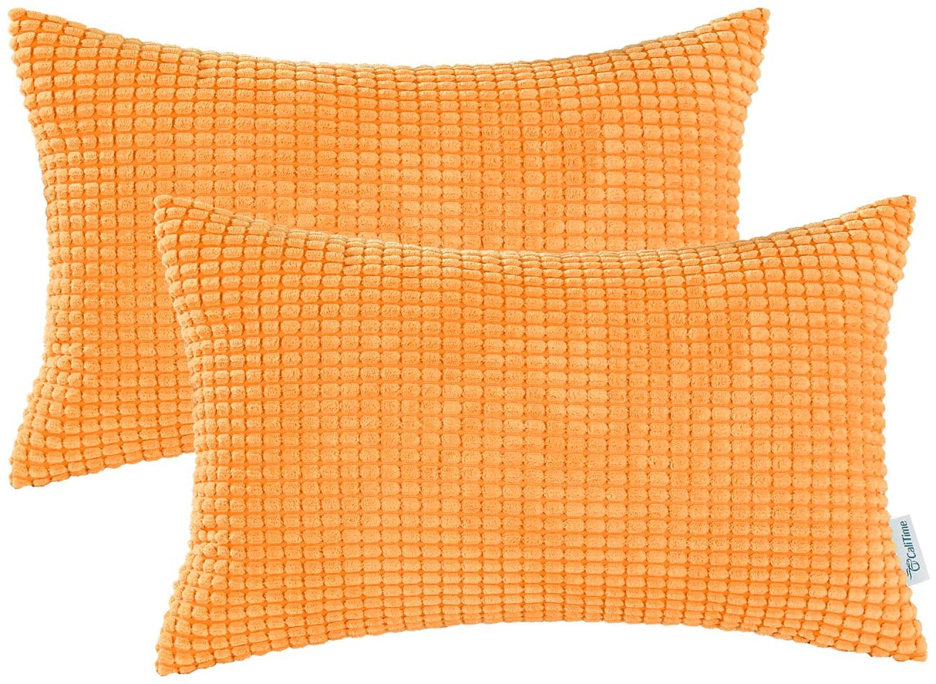 CaliTime Pack of 2 Comfy Bolster Pillow Covers Cases for Couch Sofa Bed Decoration Comfortable Supersoft Corduroy Corn Striped Both Sides 12 X 20 Inches Bright Orange