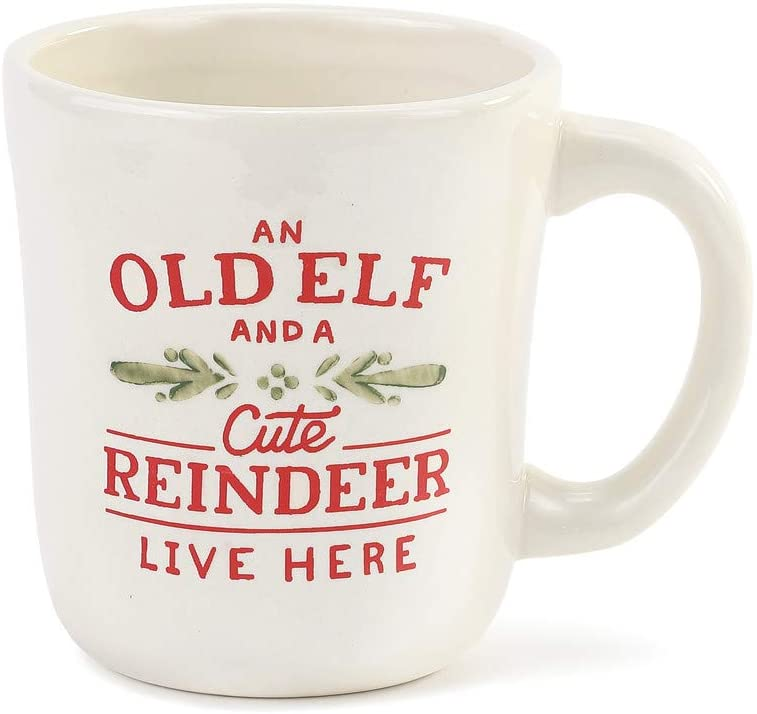 Old Elf Cute Reindeer Rosy Red 12 ounce Ceramic Stoneware Holiday Coffee Mug