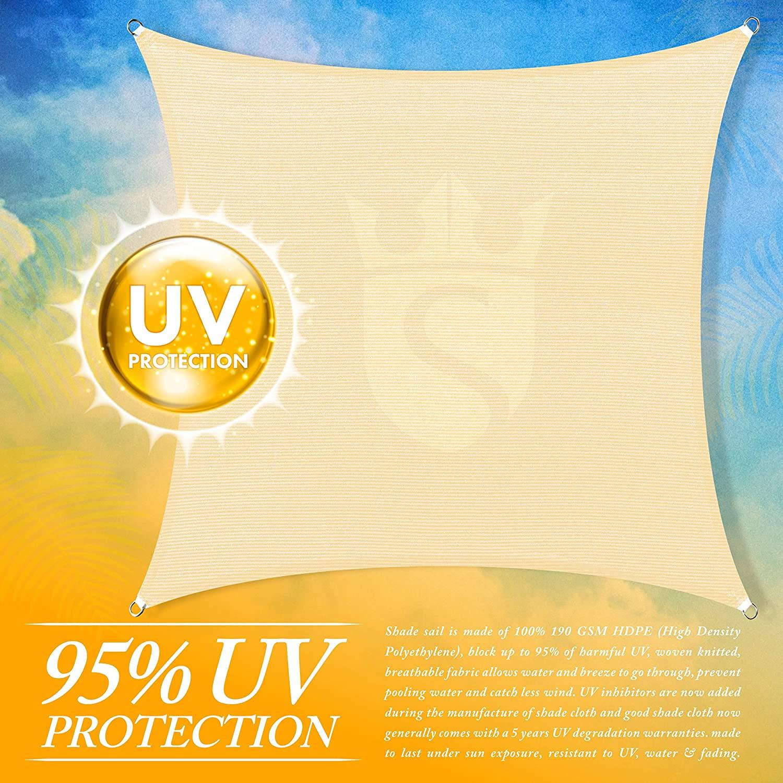 Royal Shade Custom Size 8' x 21' Beige Sun Shade Sail Canopy UV BlockRectangle - Commercial Standard Heavy Duty - 160 GSM - 5 Years Warranty