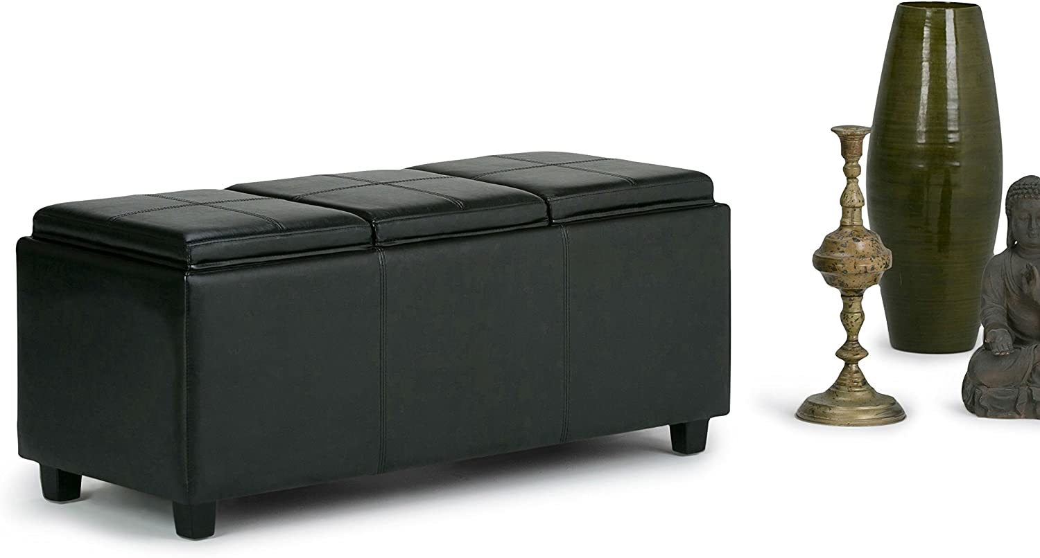 ModHaus Living Modern Transitional Upholstered Storage Ottoman Bench with 3 Serving Trays and Solid Wood Legs - Includes Pen (Black)