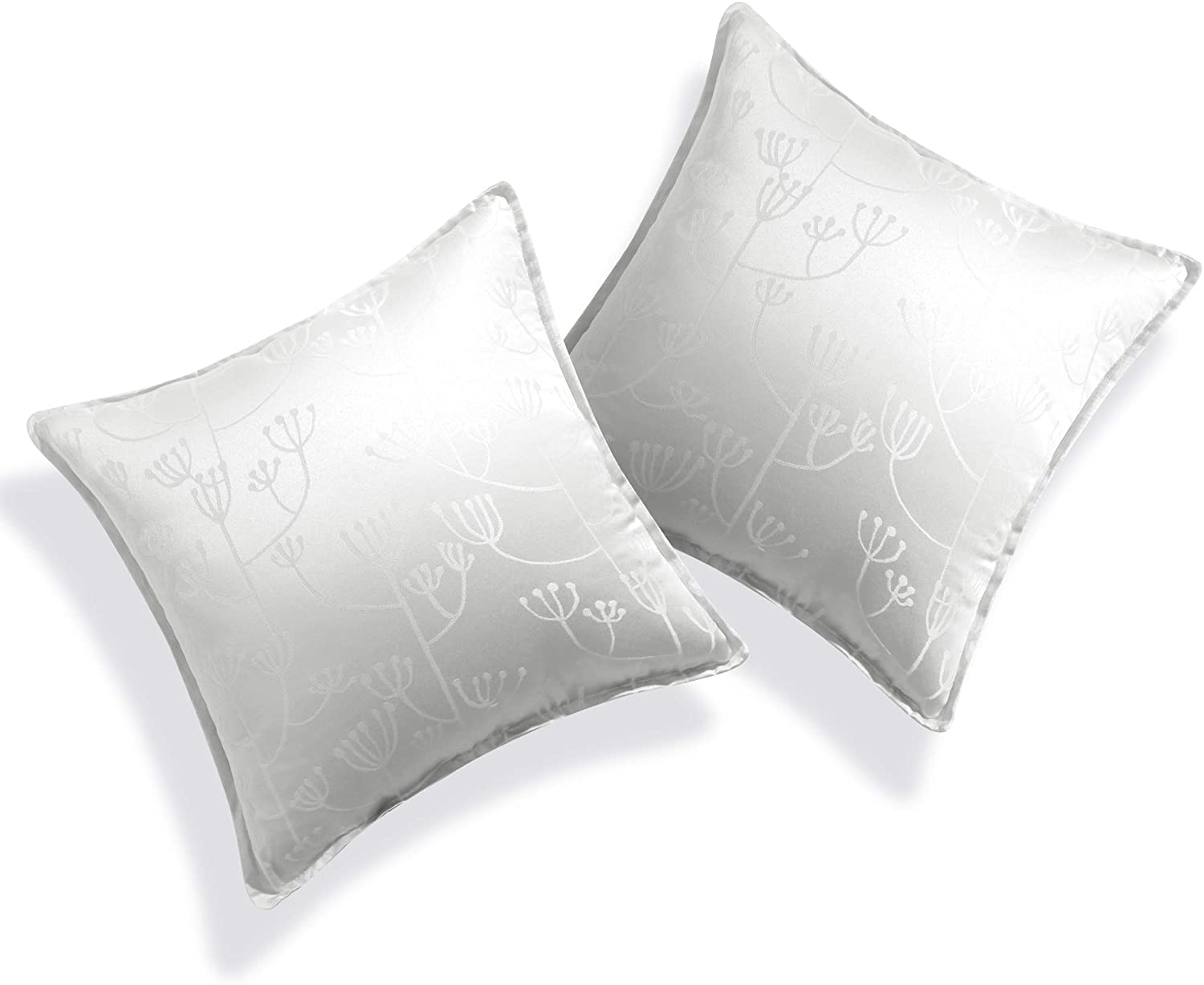 Deconovo Designer Series Jacquard Floral Throw Pillow Covers for Couch Sofa Cushion Cover for Living Room with Invisible Zipper Furniture 16 x 16 Inch Glacier Grey No Pillow Insert Set of 2