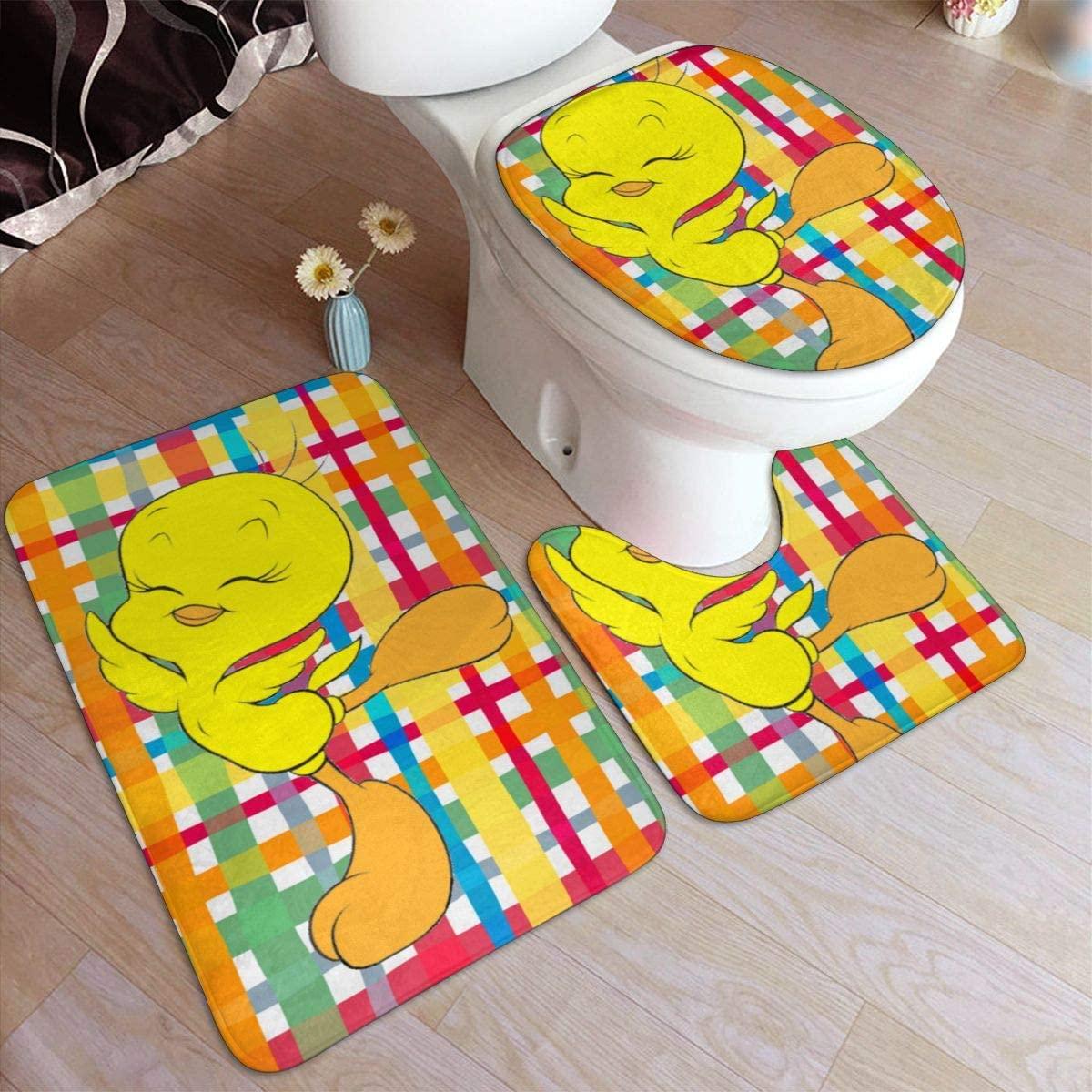NYF Tweety Bird Bathroom Mat 3 Piece Set,Home Decoration Anti-Skid Pad+ Contour Mat + Toilet Lid Cover for Tub Shower Bathroom