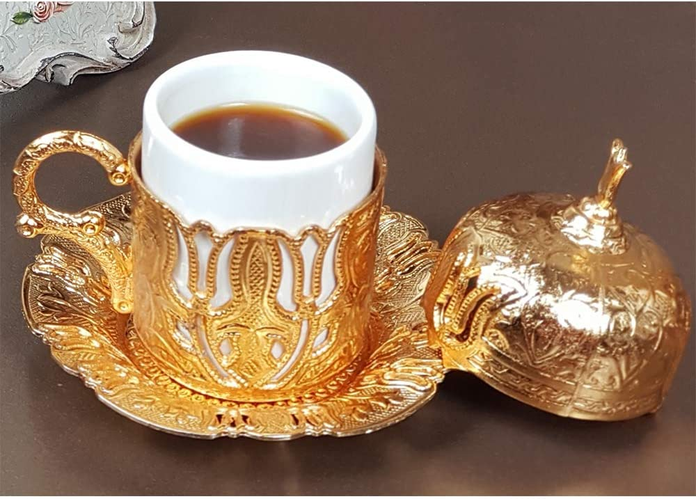 (12 Colors) Turkish Greek Moroccan Arabic Demitasse Coffee Espresso Cup and Saucer with Handle Lid Inner Porcelain for Serving and Drinking Housewarming Gift Women (Gold two tulips)