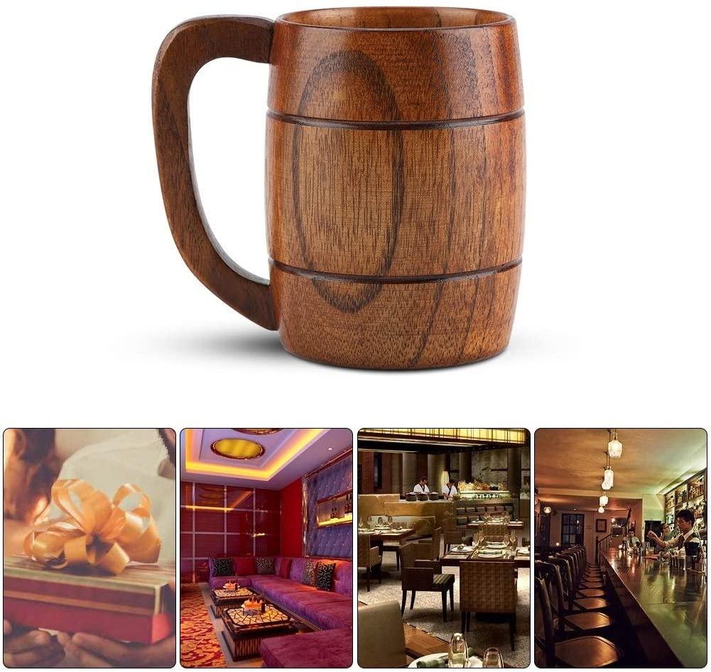 Wooden Cup - Big Capacity Wooden Beer Cup Retro Tea Water Mug Classic Wood Drinking Mug with Handle