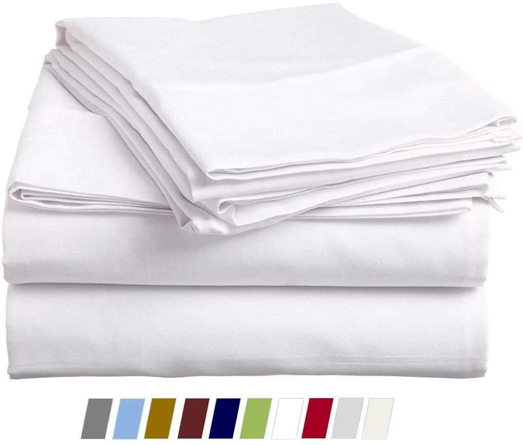 Queen's Linen Twin Sheets Sets Up to 15-Inch Deep- Twin Size Bed Sheets Cotton-100% Cotton Bed Sheets,400 Thread Count, 39x75 Twin Bed Sheet, Twin Cotton Sheets Set (4 Pcs) Milky White