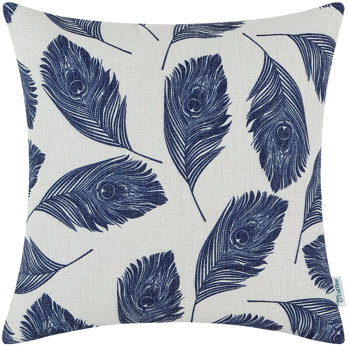 CaliTime Canvas Throw Pillow Cover Case for Couch Sofa Home Decoration Peacock Feathers 16 X 16 Inches Navy Blue
