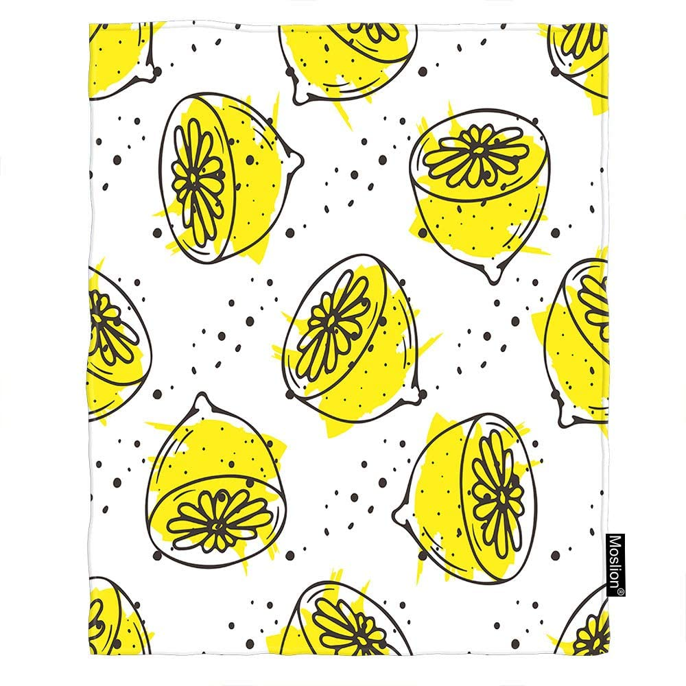 Moslion Lemon Tea Throw Blanket 60x80 Inch Organic Herbal Hot Drinks Hand Sketched Fruits Berries Nature Cozy Throw Blanket for Couch Bed Sofa Car Soft Throw Blanket Flannel