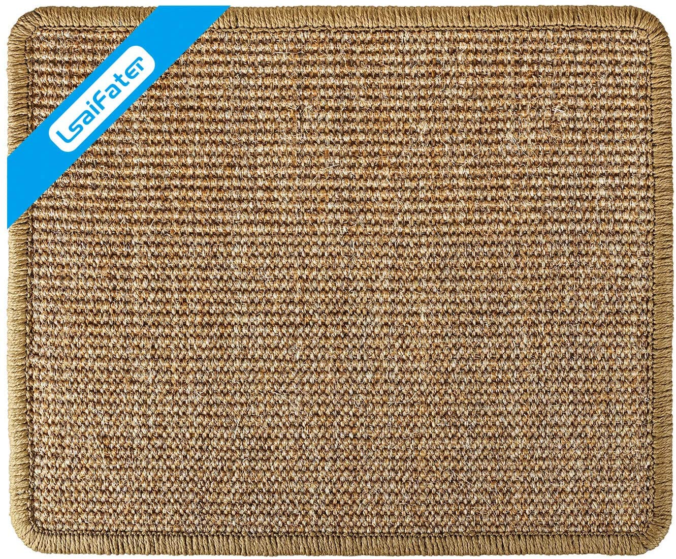LSAIFATER Cat Scratching Mat, Natural Sisal Mat, Protect Carpets and Sofas (13x15¾ inch, Brown)