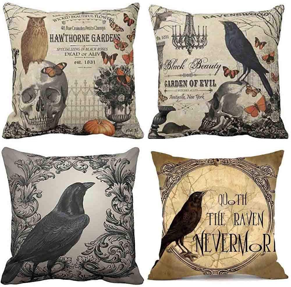 WallDecalsAndArt 4PCS Fall Halloween Bird Skeleton Pillow Cover, 18 x 18 Inch Halloween Decoration Home Cushion Pillow Case for Sofa Couch Bed Home, Cotton Linen Home Decor