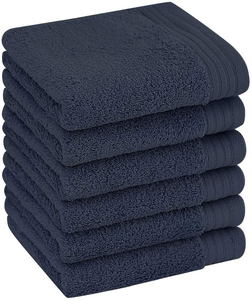 PiccoCasa Set of 6, Luxury Hand Towels 13 x 29 Inch 100% Long-Staple Cotton Soft Absorbent Drying Towels Hotel Spa Quality Face Towel Navy Blue