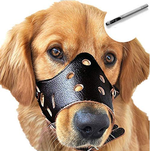 Barkless Dog Muzzle Leather, Comfort Secure Anti-Barking Muzzles for Dog, Breathable and Adjustable, Allows Drinking and Eating, Used with Collars