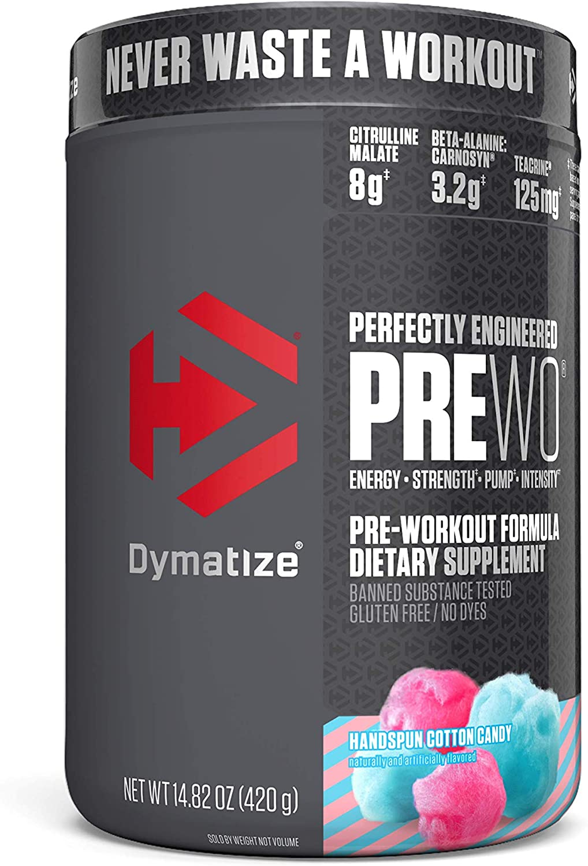 Dymatize PreW.O., Pre Workout Powder with Caffeine, Maximize Energy, Strength & Endurance, Amplify Intensity of Workouts, Handspun Cotton Candy, 400g