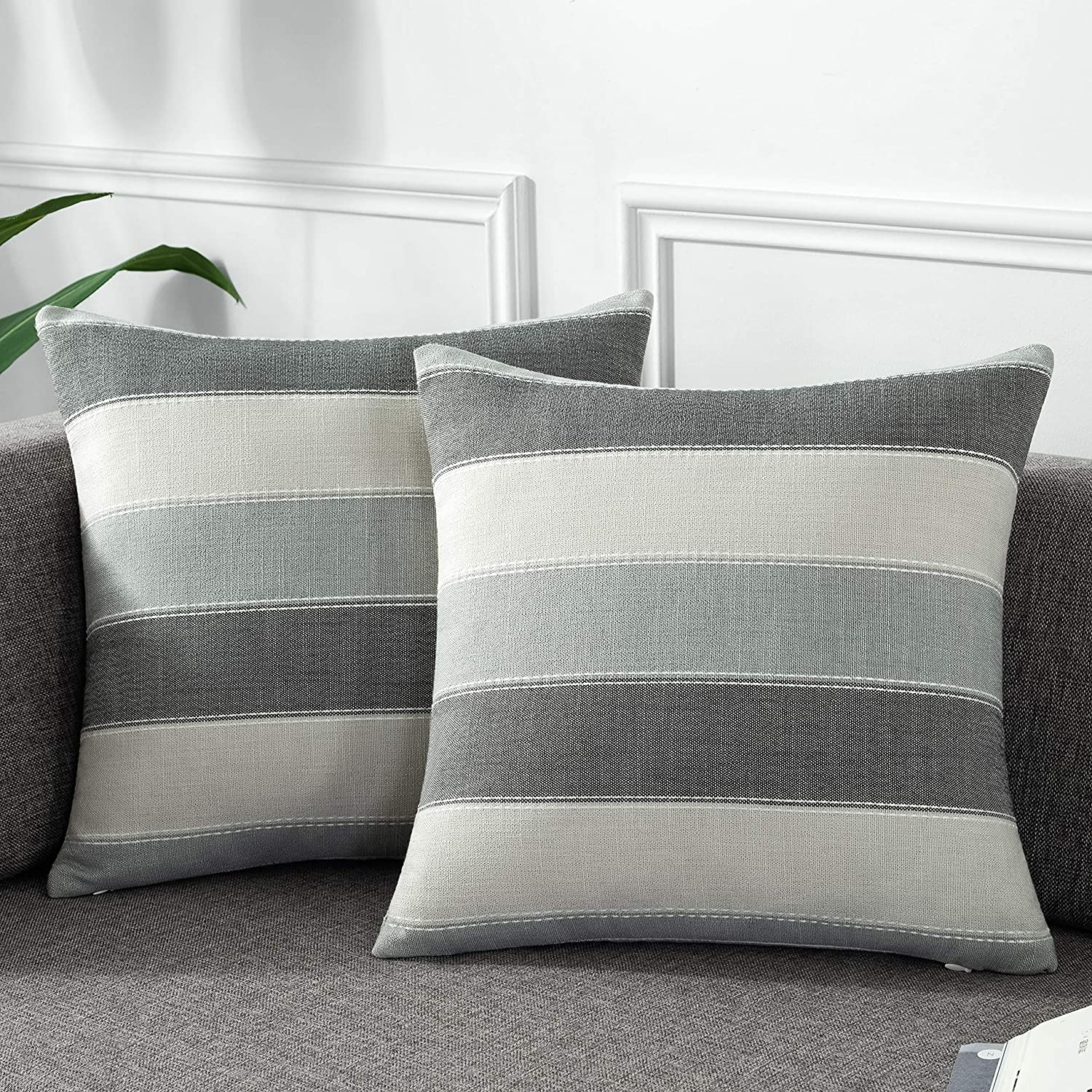 AmHoo Pack of 2 Farmhouse Stripe Check Throw Pillow Covers Set Case Cotton Linen Decorative Pillowcases Cushion Cover for Couch Bench Sofa 20x20Inch Dark Grey Beige