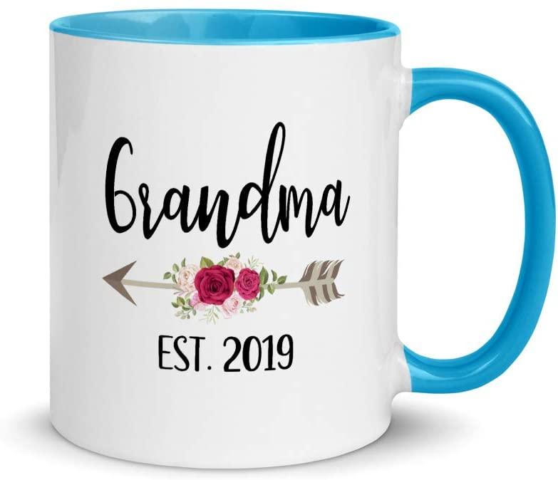 Grandma Est 2019 Cute Grandparents Color Coffee & Tea Mug | Proud New Gigi | New Grandma | Pregnancy Announcement | Grandma Coffee Mug | Mothers Day Gift | New Grandparent | Future Grandma (11oz)