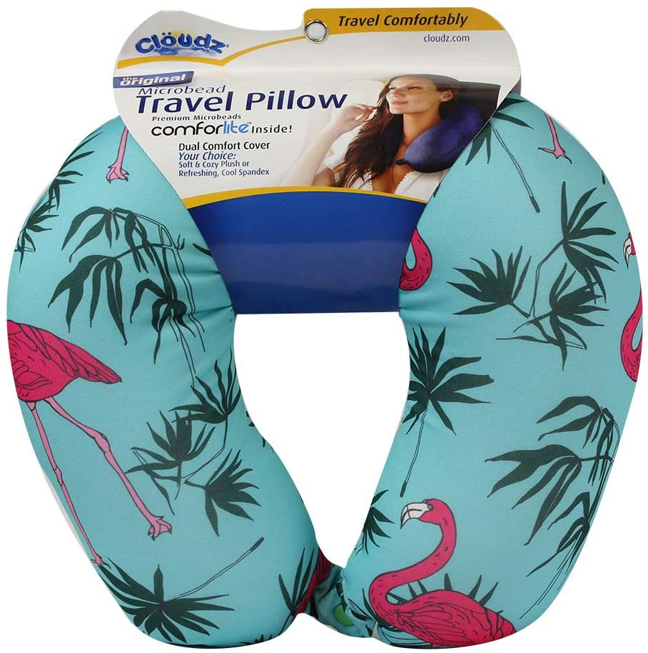 Cloudz Patterned Microbead Travel Neck Pillows - Flamingo