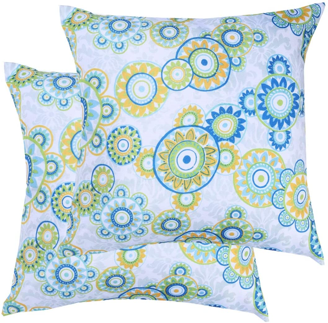 Poise3EHome Outdoor Decorative Pillow Covers Set of 2 Waterproof Throw Pillow Covers for Living Room, Fall, Couch, Patio, Farmhouse, 18X18 Inches, Floral