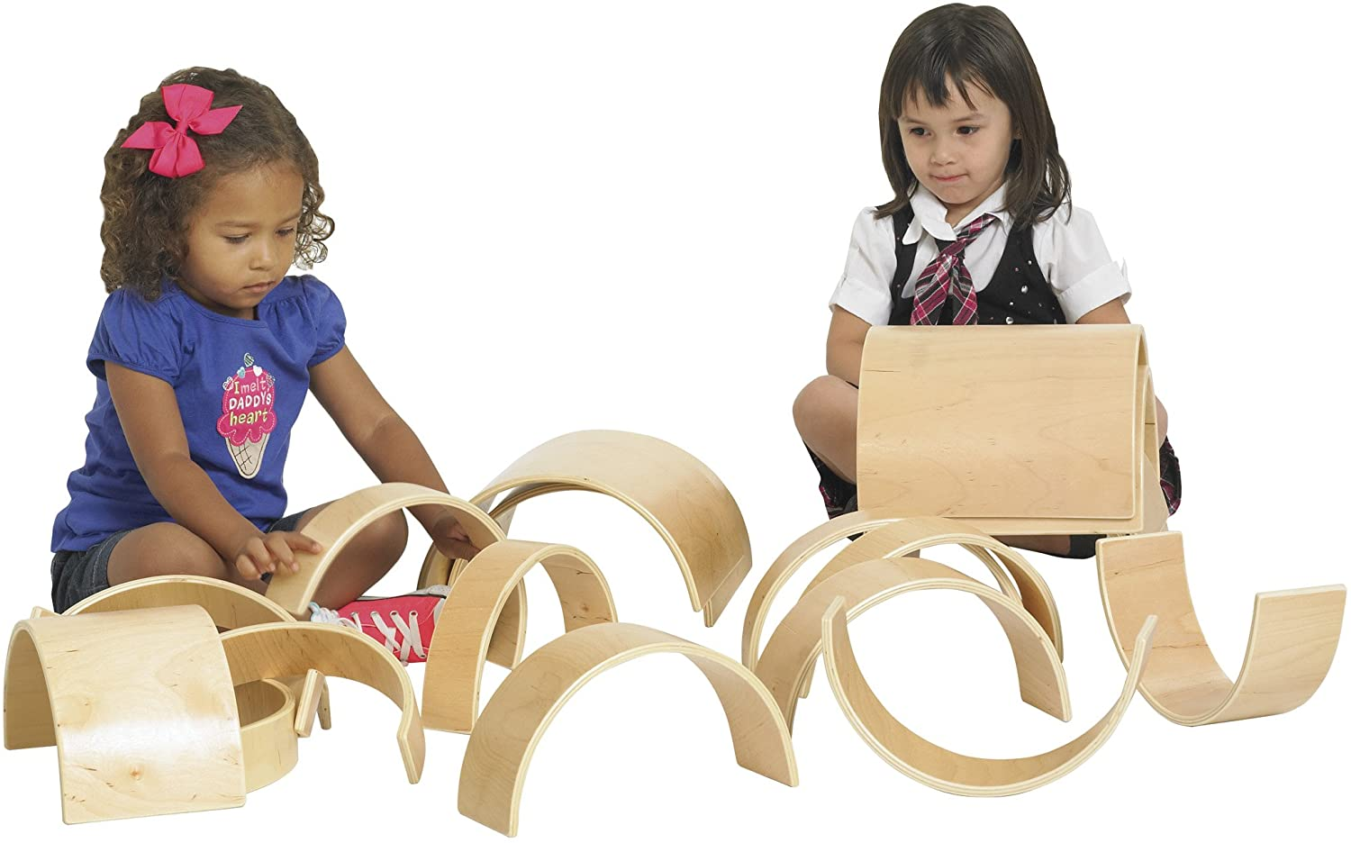 ECR4Kids ELR-0333 Natural Hardwood Curved Play Tunnel and Arch Blocks (20-Piece)
