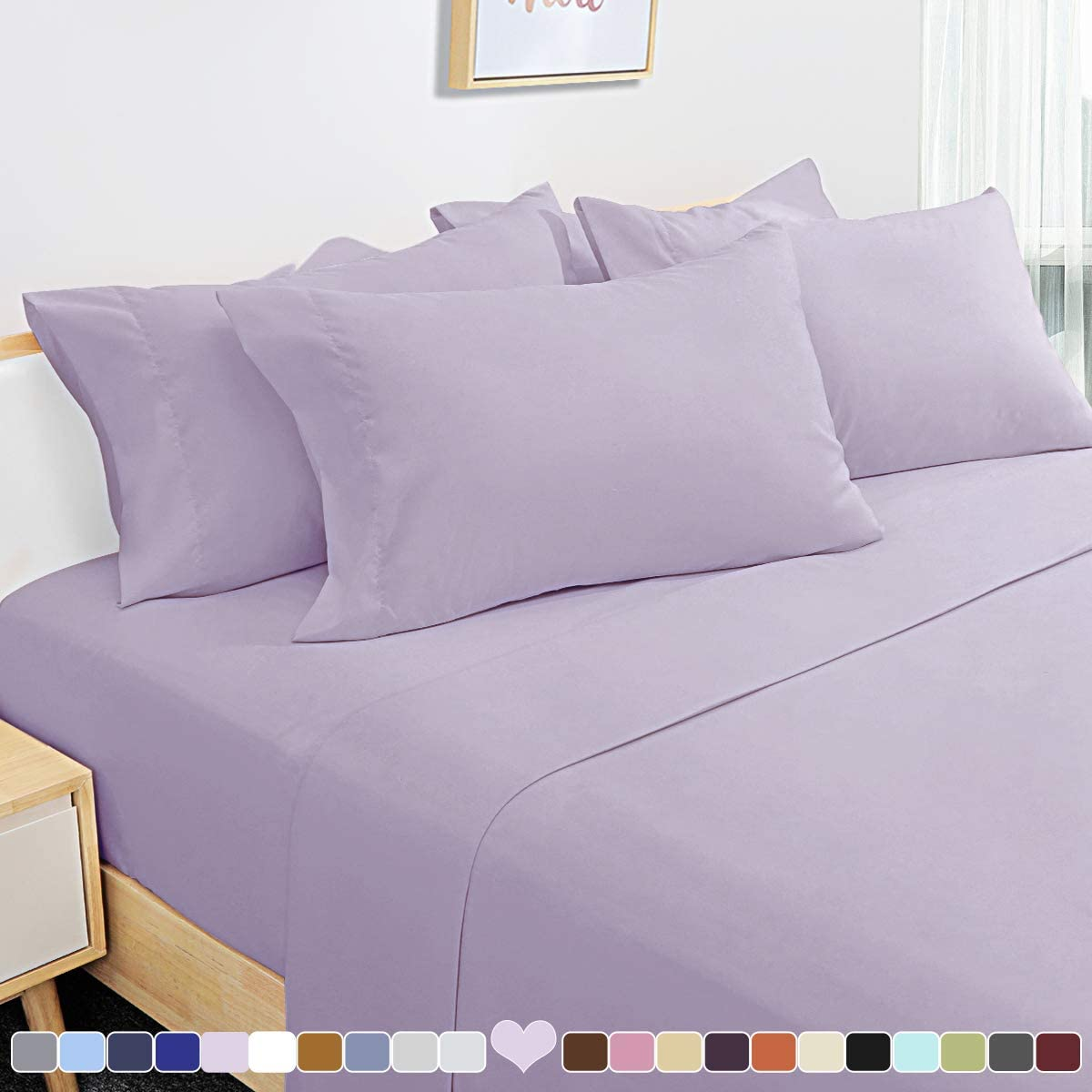 HOMEIDEAS 6 Piece Bed Sheets Set Extra Soft Brushed Microfiber 1800 Bedding Sheets Deep Pocket, Wrinkle & Fade Free (Queen,Lavender)