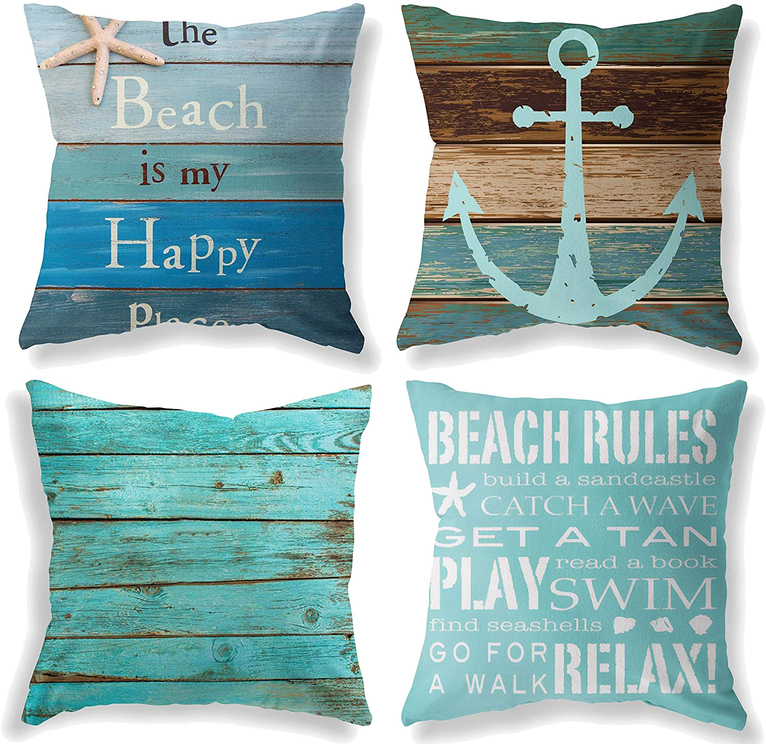 LuckyCow Throw Pillow Covers 18x18 Inch - Cotton Linen Blue Theme Ocean Starfish Wood Grain Beach Game Pillow Covers, Decorative Pillowcase for Home Sofa Bedding Couch Outdoor Cushion Covers.