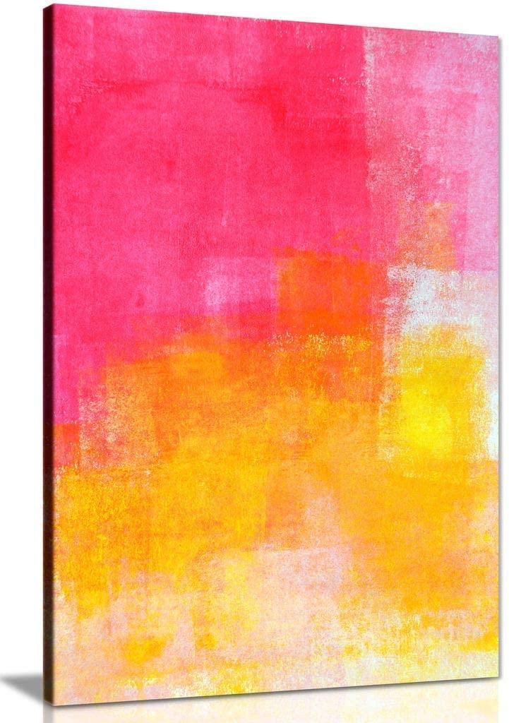 Pink Orange White Portrait Canvas Wall Art Picture Print (36x24)