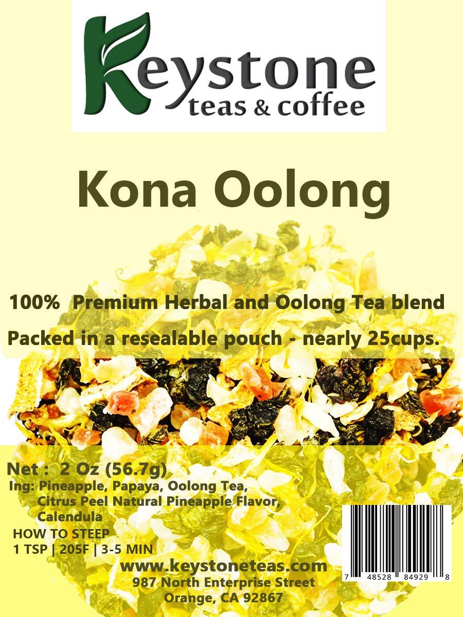 Kona Oolong – Oolong tea blend with Pineapple, Papaya fruit, citrus peel and natural pineapple flavored Tea. -2 Oz (20 Cups) (2 Oz)
