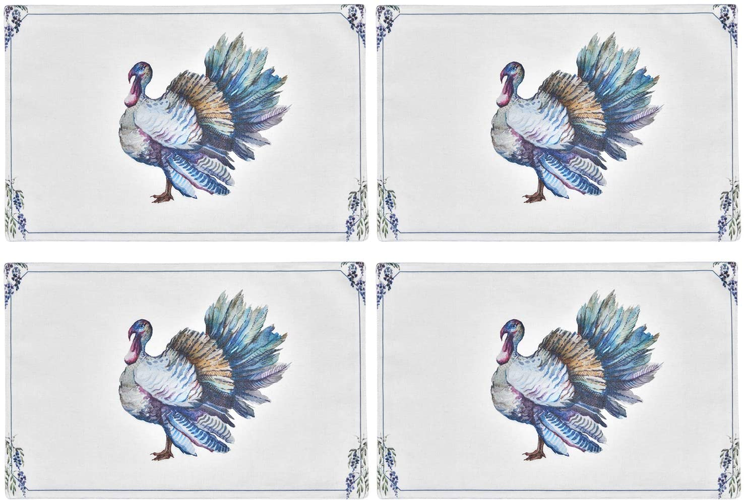 Sunlightfree Set of 4 Placemats Thanksgiving Turkey Heat-Resistant Washable Table Place Mats Cotton Linen Rectangular Placemats for Kitchen Dining Table, White, 18 x 12 Inches