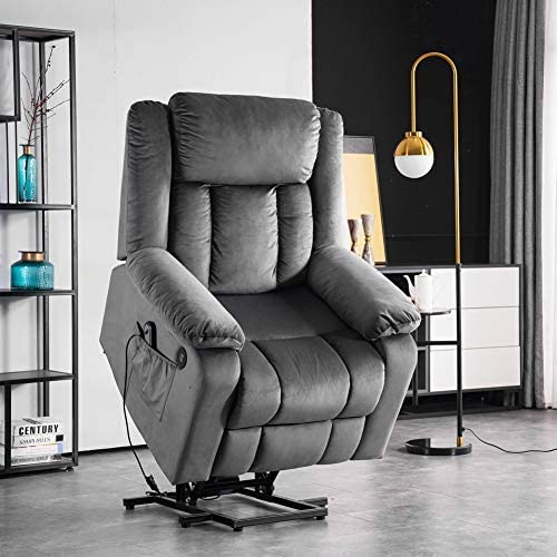 Electric Power Lift Recliner Chair, Lifting, Heating, USB Socket, Cup Holder, Storage Bag, Remote Control Vibration, Load-Bearing 330 pounds, Single Recliner (Velvet, Gray)