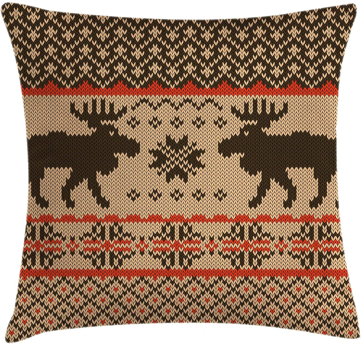 Ambesonne Cabin Throw Pillow Cushion Cover, Knitted Swatch with Deers and Snowflakes Classical Country Plaid Digital, Decorative Square Accent Pillow Case, 18