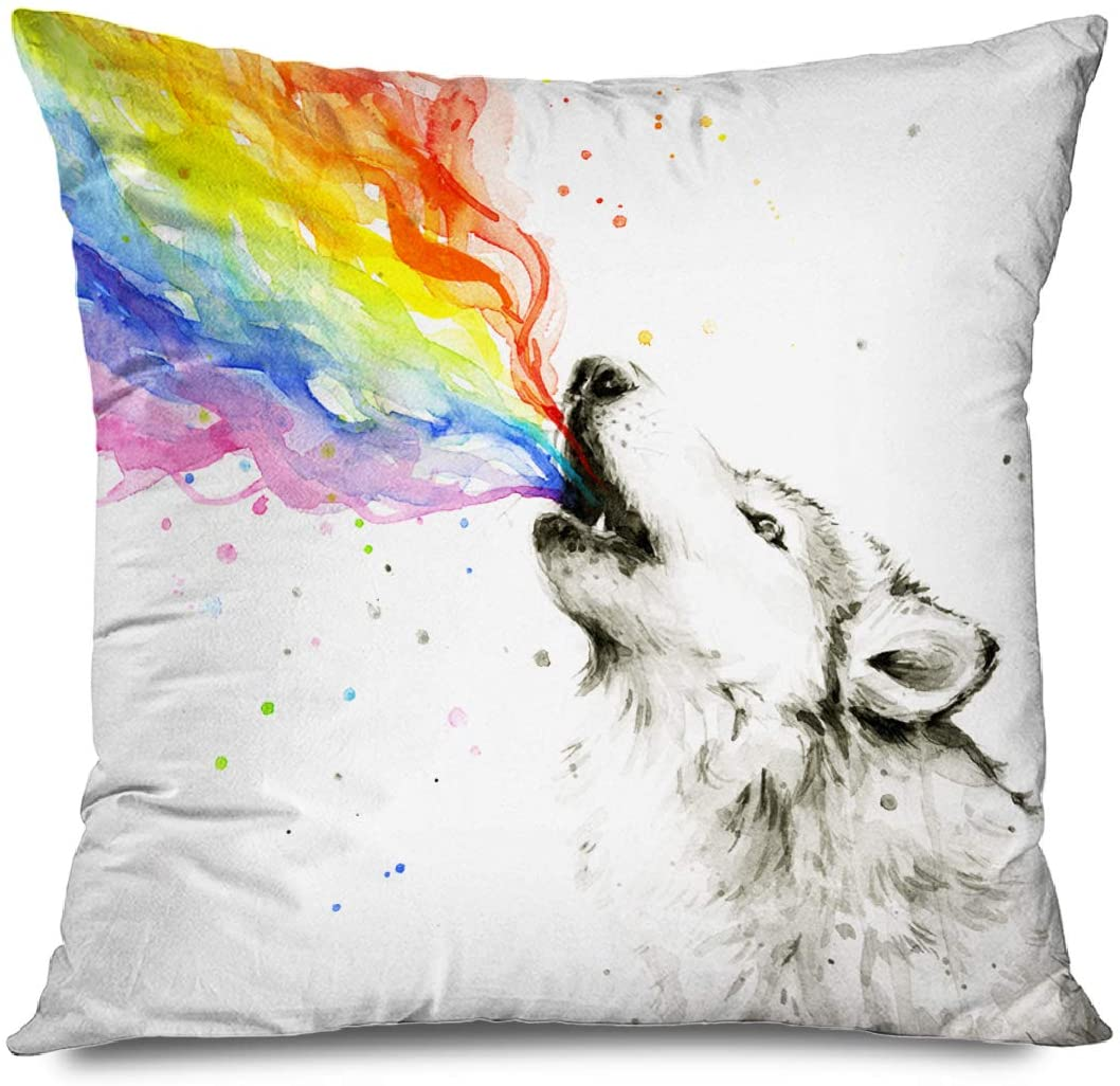 DANGCCI Animal Decorative Throw Pillows Cushion Cover for Bedroom Sofa Living Room Rainbow Animals Wolf Watercolor Painting Pillowcase 18 x 18 Inches