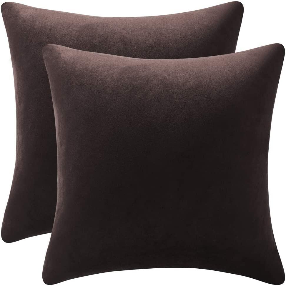 DEZENE Decorative Pillow Cases 24x24 Chocolate Brown: 2 Pack Cozy Soft Velvet Square Throw Pillow Covers for Farmhouse Home Decor