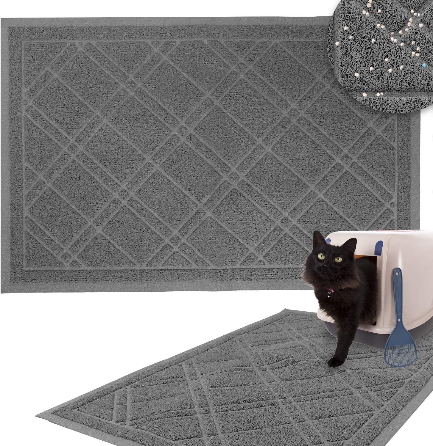 Downtown Pet Supply Non-Slip Padded Mesh Kitty Litter Mat Trapping Tray for Cats and Kittens in Grey with Small, Medium, Large Sizes