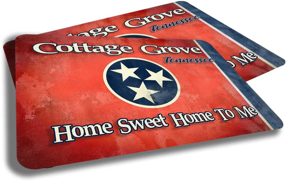 Brotherhood Cottage Grove Tennessee State Flag Cities Towns Door Mat Souvenir Gift Design Rubber Grip Non Skid Backing Rug Indoor Entryway Door Rugs Mats Pack of 2