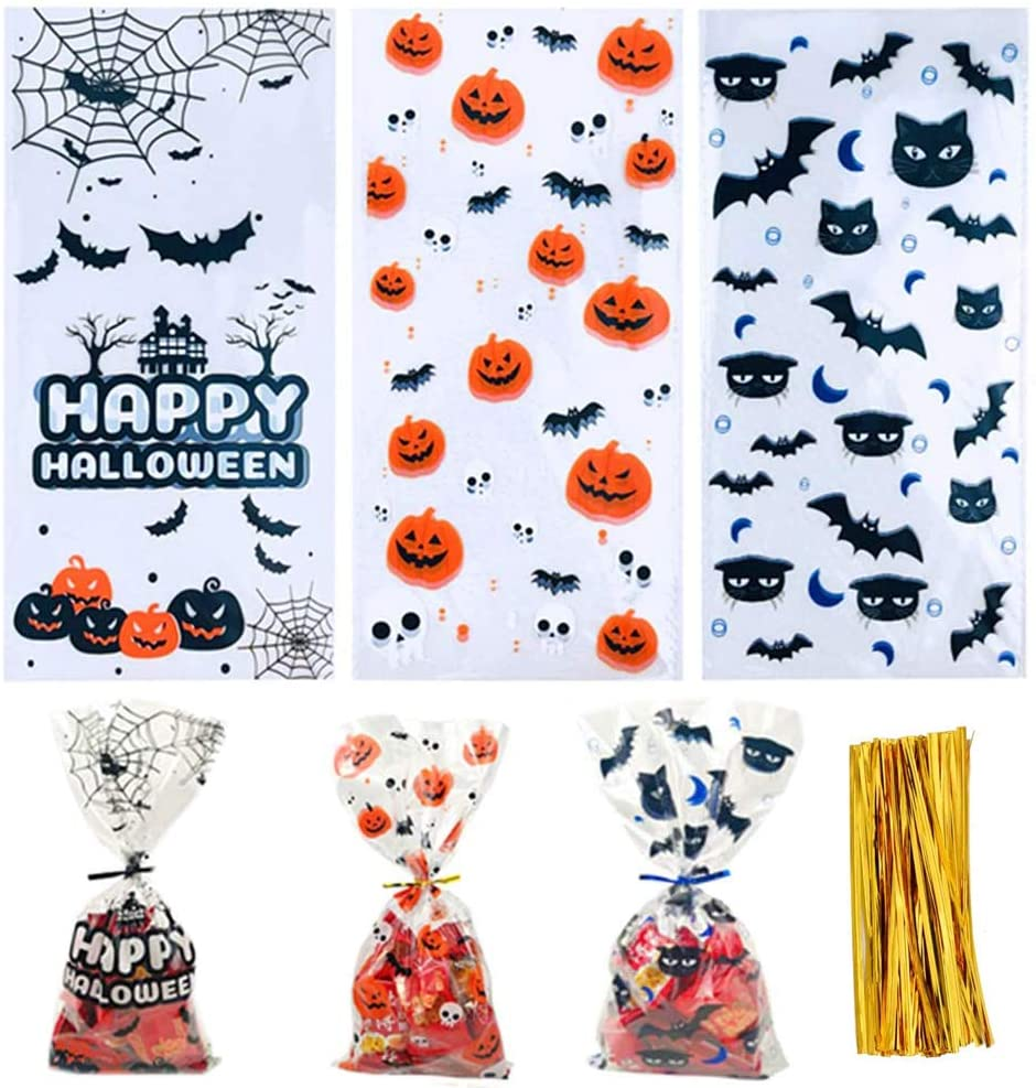 150 Pieces Halloween Cellophane Treat Bags with 150 Pieces Twist Ties Gift Pumpkin and Bat Pattern Clear Candy Bags Halloween Party Supplies