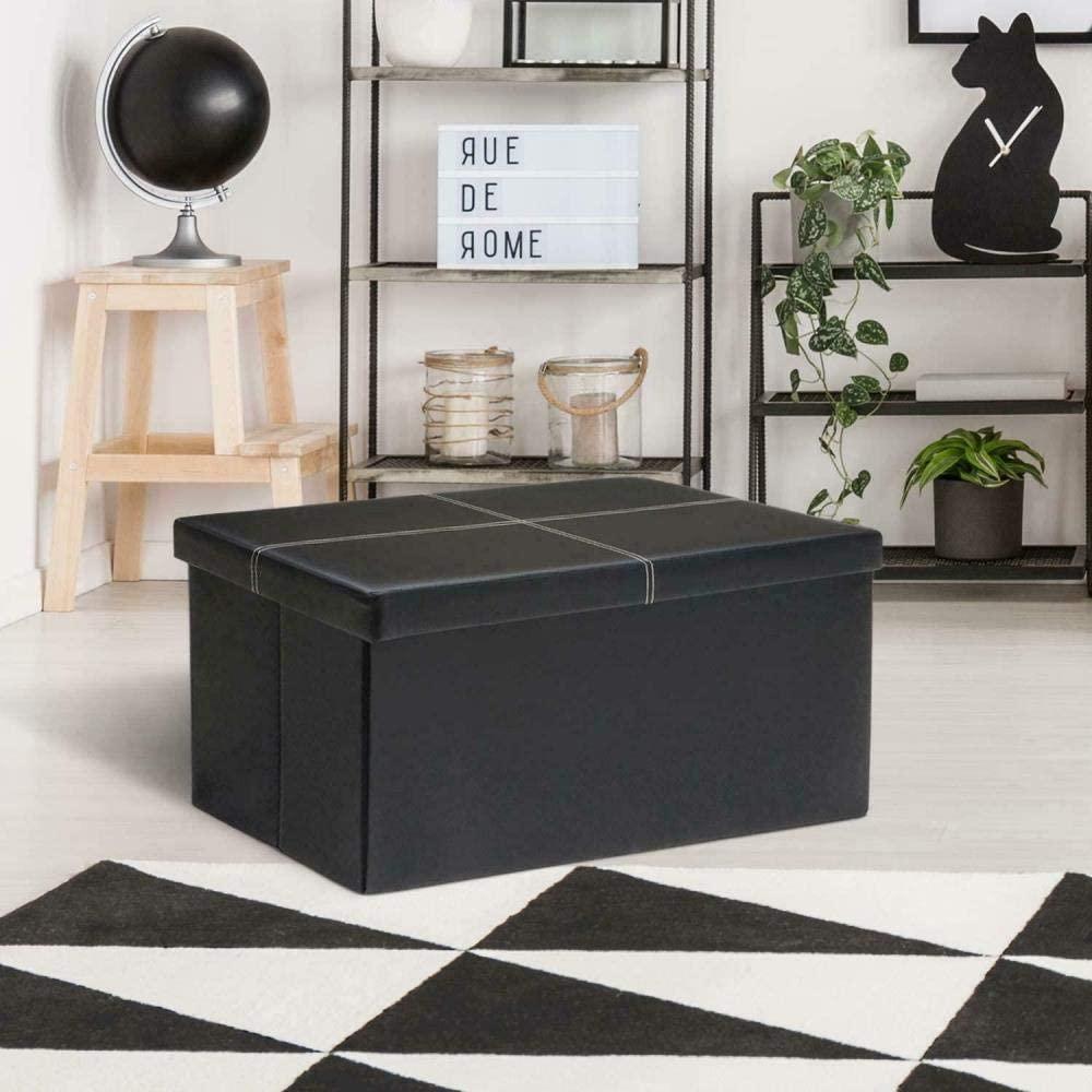 Brnad Lawsony Folding Storage Ottomans Faux Leather Folding Storage Bench 30-inch Cabinet footrest Coffee Table