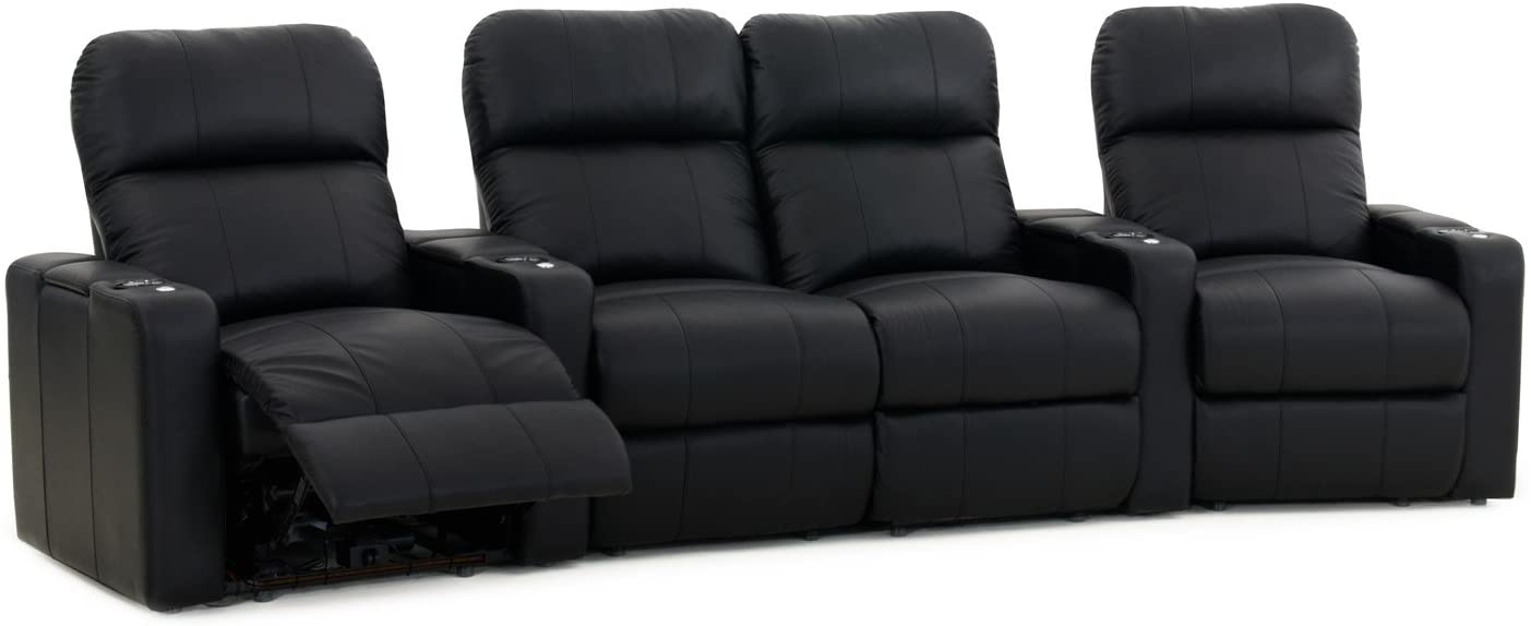 Octane Turbo XL700 Black Bonded Leather with Manual Recline (Row of 4 Middle Loveseat Curved)