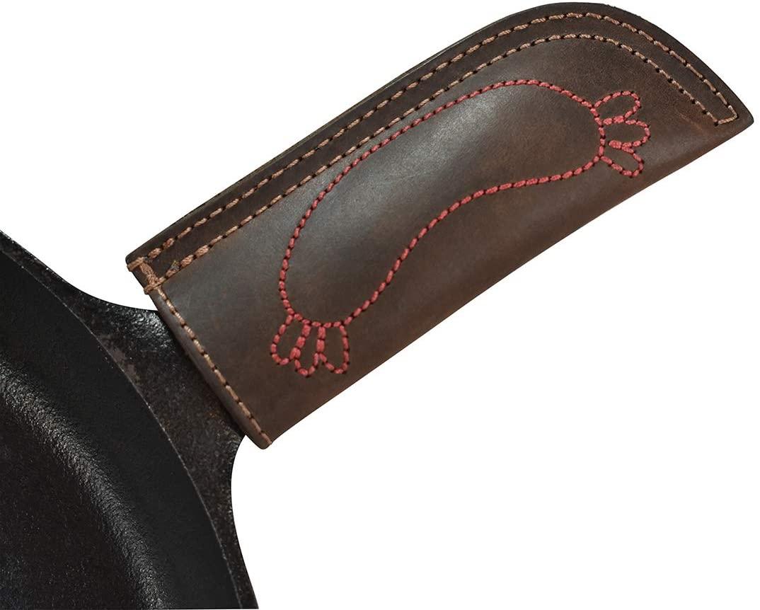 Hide & Drink, Leather Hot Handle Holder Sausage Design, Panhandle Potholder, Double Layered Stitched, Lodge Cookware Skillet, Handmade :: Bourbon Brown
