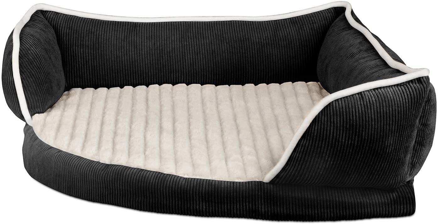 Paws & Pals Dog Bed for Pets & Cats - Triangle Corner Lounger with Self Warming Cozy Inner Cushion for Home Crate & Travel