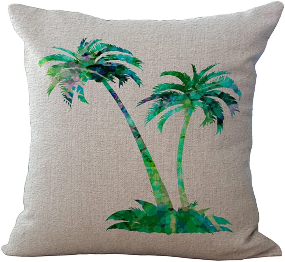 ChezMax Coconut Palm Tree Throw Pillow Cover Sham Slipover Cotton Linen Pillowslip Square Pillowcase for Home Car Seat Chair Deck