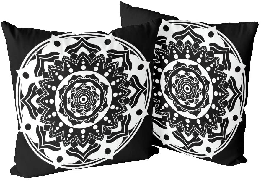 CUXWEOT Pillowcase 2 Pack (18x18 inches) Pillow Cases Covers with Lotus Tribal Mandala