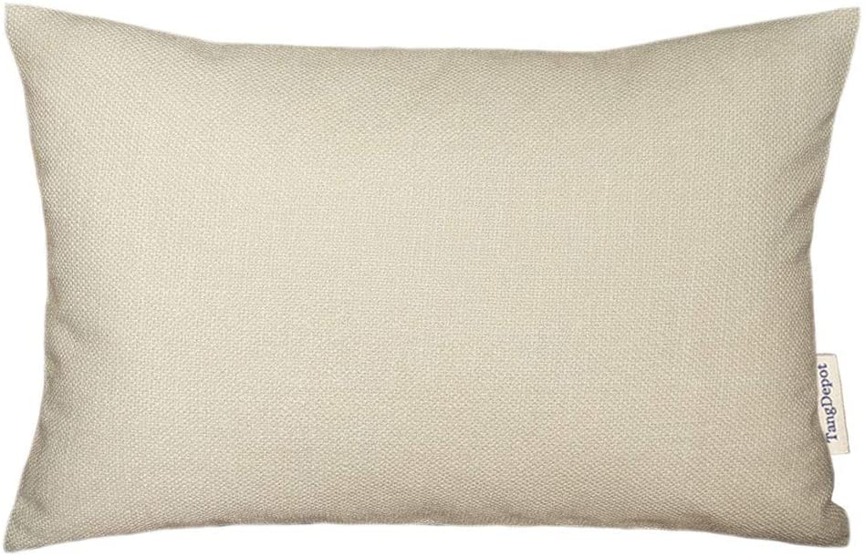 TangDepot Blend Linen Handmade Solid Decorative Throw Pillow Covers/Pillow Shams, Thick and Soft Rectangle Pillow Covers, Cushion Covers, Pillowcase - (12x20, Cream Beige)