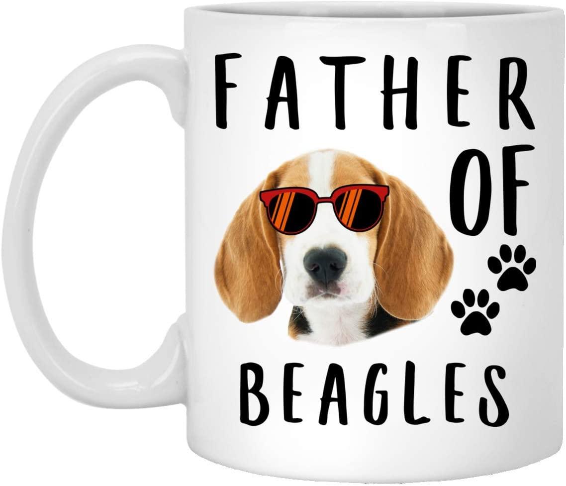 Funny Father Of A Beagle Red Sunset Retro White Coffee Mug 11oz