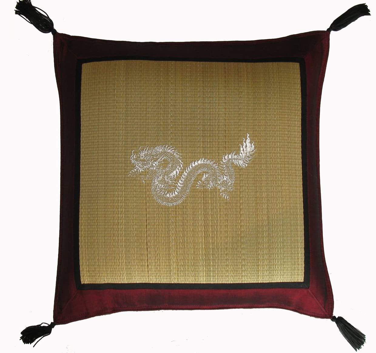 Boon Decor Tatami Japanese Throw Pillow with Embroidered Design & Silk Trim Red Dragon