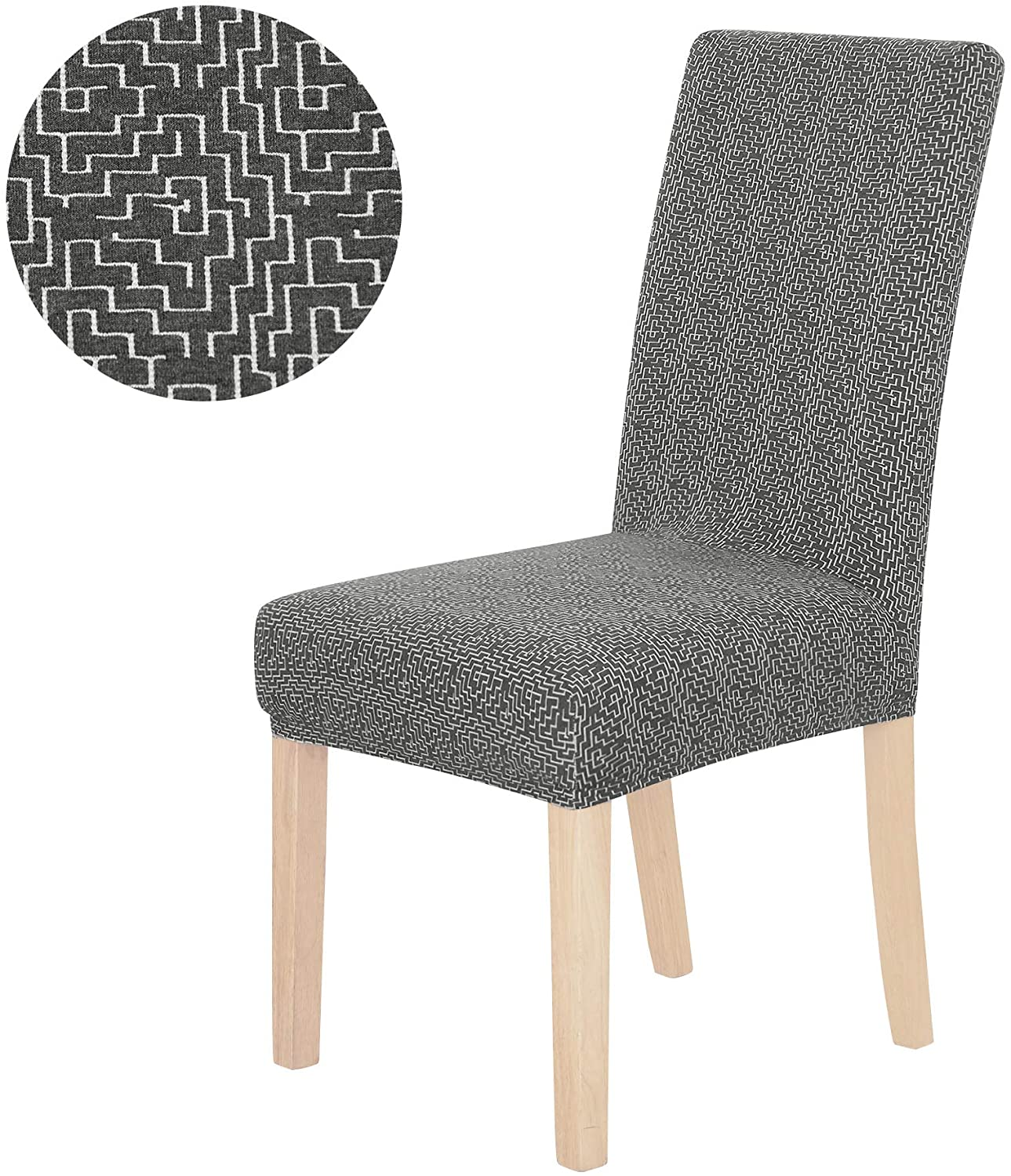 Deconovo Soft Knit Jacquard Chair Cover Removable Washable Slipcover for Dining Room Party Seat Protector Set of 2 Dark Grey