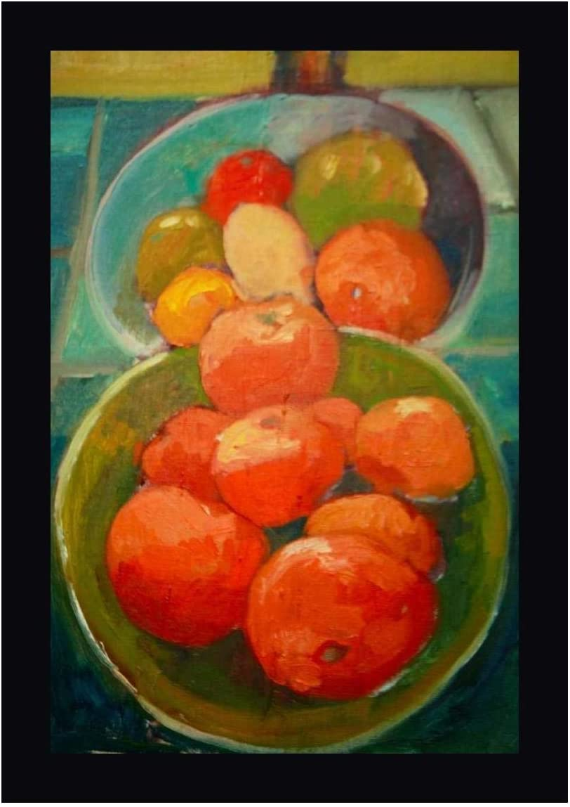 Fruit Bowls by Eddie Barbini 12 x 16 Black Framed Canvas Giclee Art Print - Ready to Hang