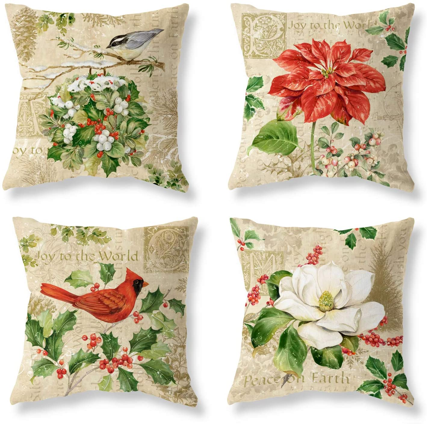 Set of 4 Christmas Pillow Covers Merry Christmas Throw Pillow Cover Cushion Covers Winter Autumn Red Bird Flower Pillow Covers Square Pillowcase Decoration for Christmas Sofa Bed Chair Car 18 x 18