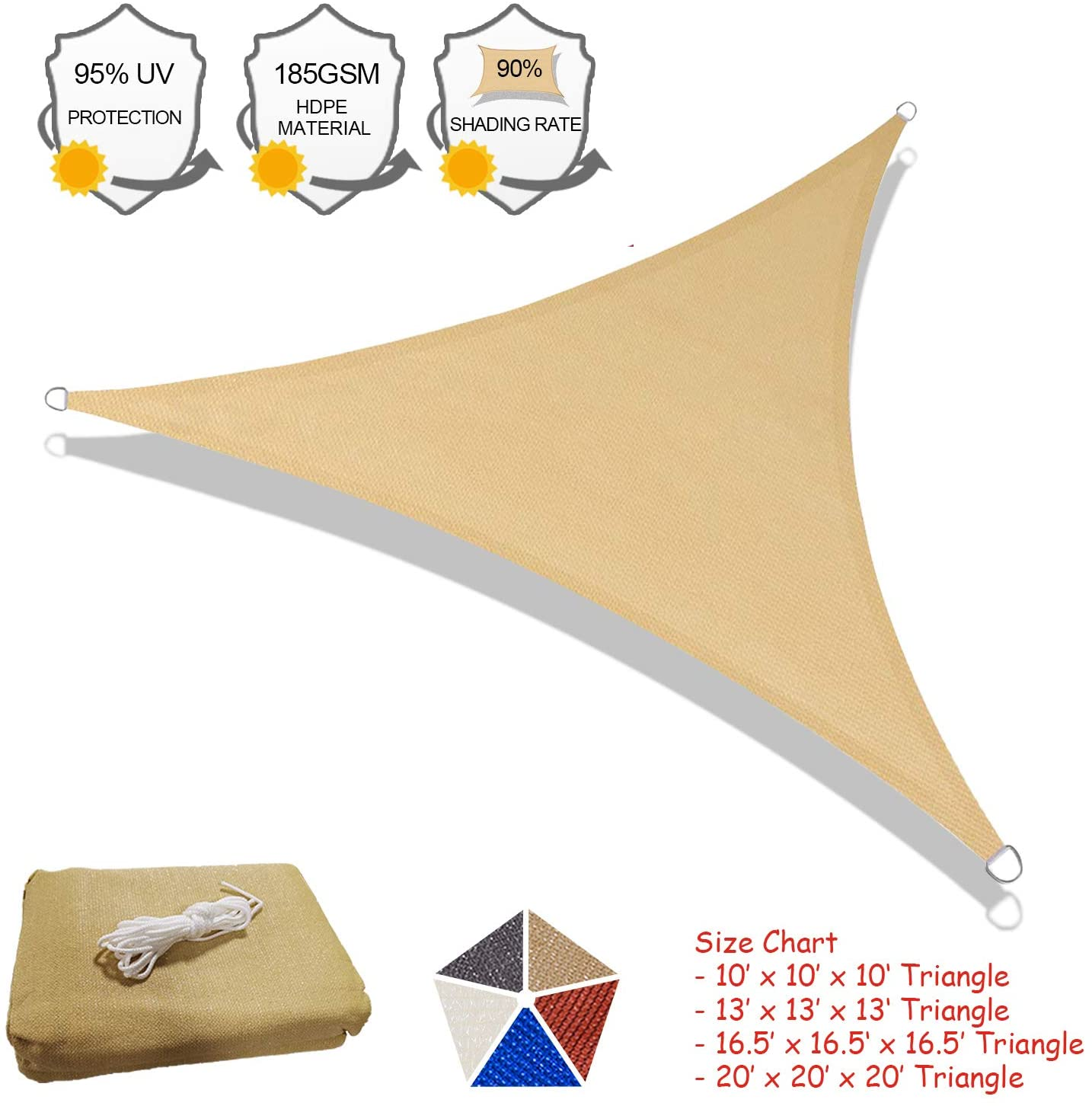 SUNLAX Sun Shade Sail, 10'x10'X10' Sand Triangle Outdoor Awning Shade Cover 185GSM HDPE UV Block for Patio Shading