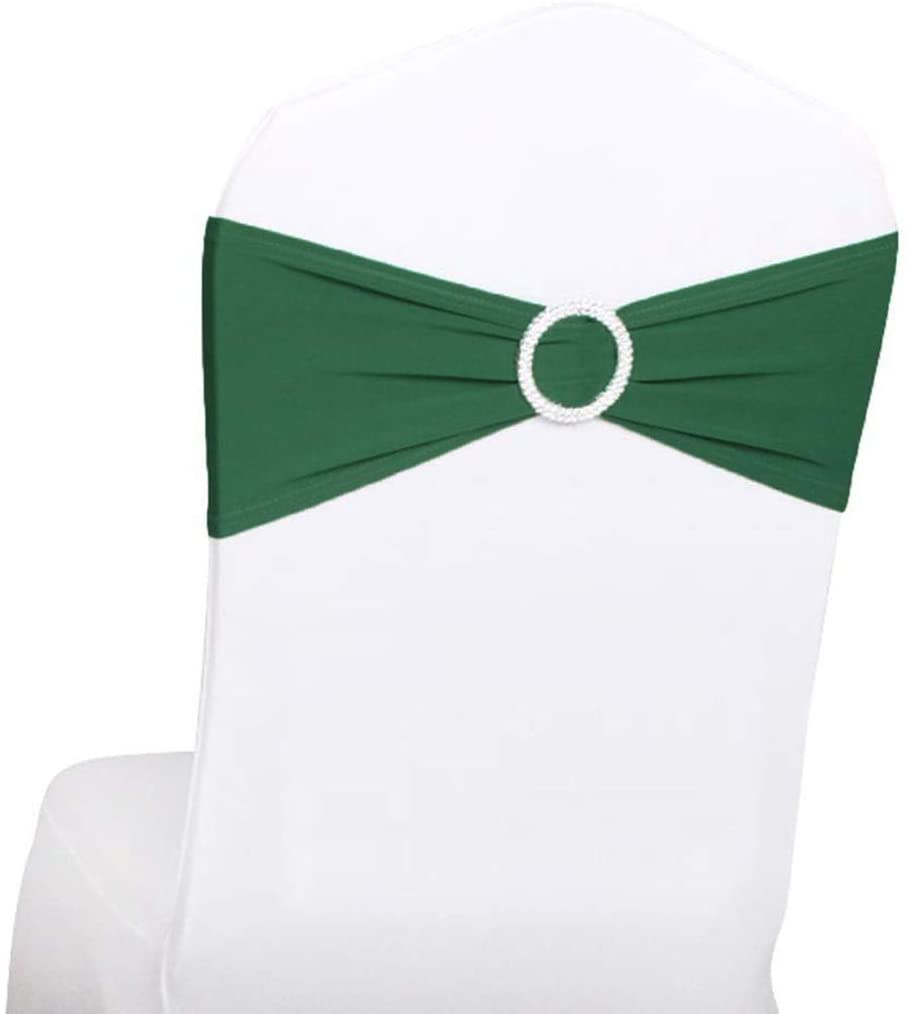 Gowinex 10pcs Hunter Green Spandex Chair Bands with Buckle Wedding Banquet Sashes (Hunter Green, 10)