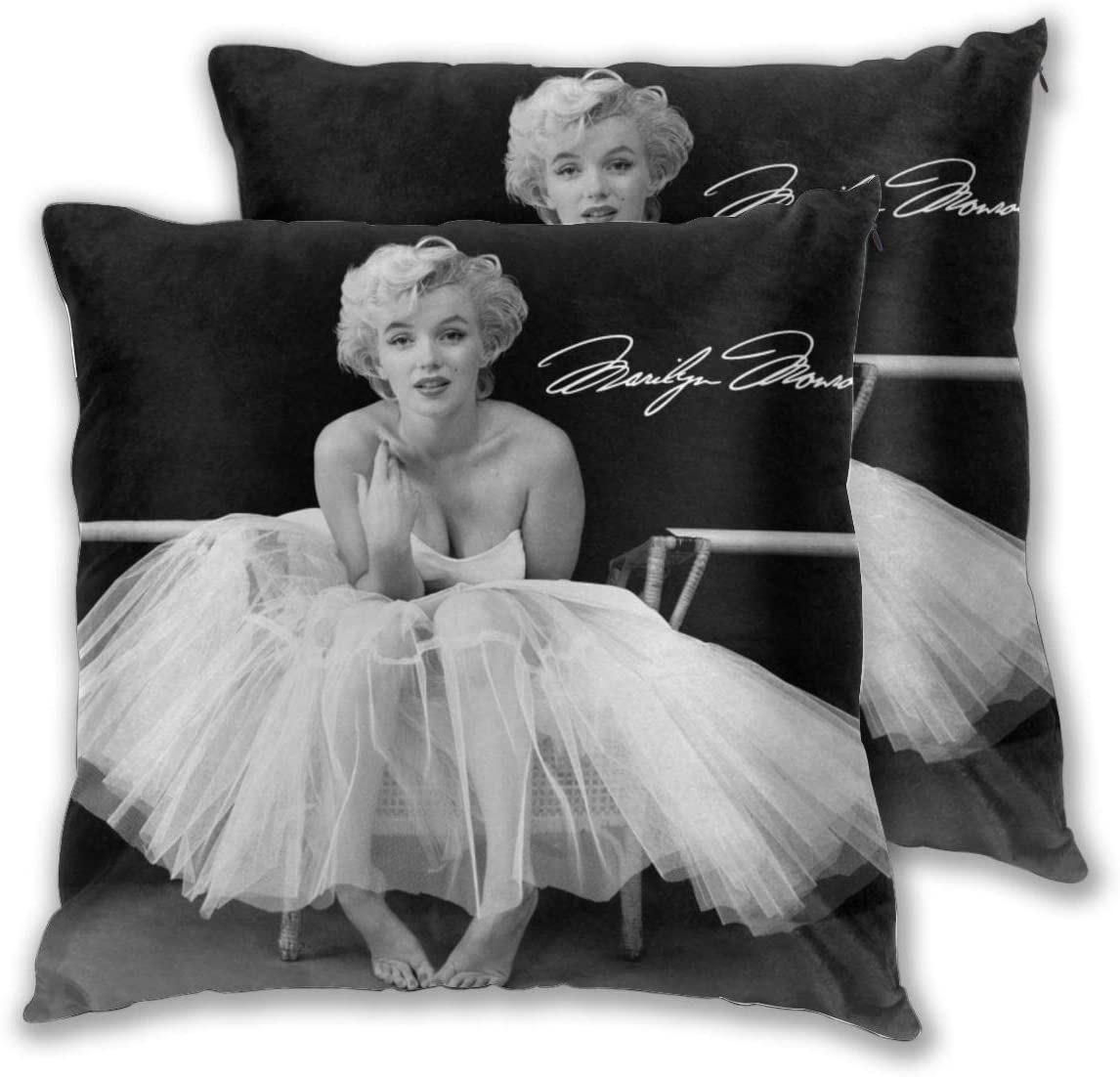 Marilyn Monroe Throw Pillow Cover, 2-Pack Square Pillowcases, Cushion Cover for Sofa Bed Chair 18x18inch(45x45cm)